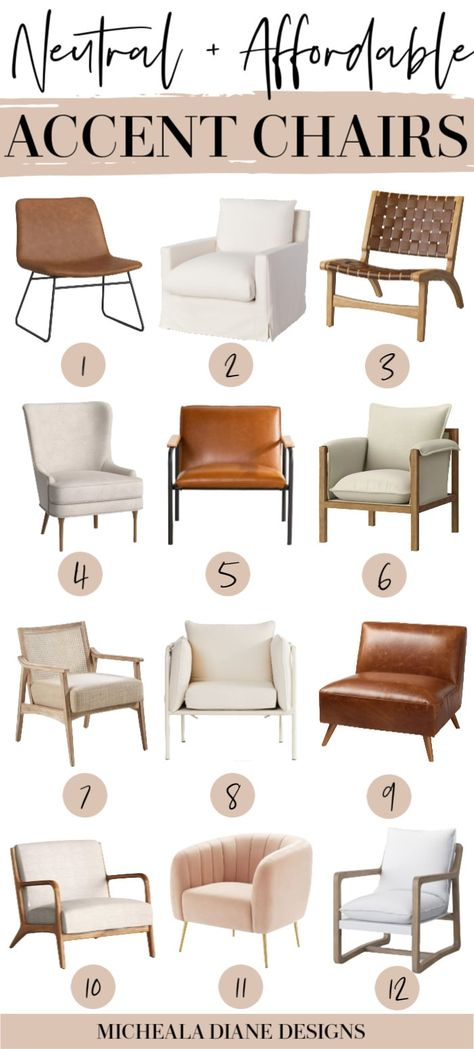 Living Room Accents, Accent Chairs For Living Room, My Living Room, Leather Living Room Chair, Neutral Living Rooms, Cozy Living, Simple Living, Home Accents, Dining Room