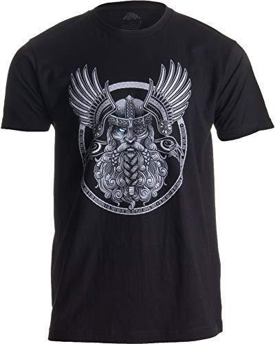 Odin   Norse Mythology God Valkyrie Valhalla Viking Raven Nordic Thor T-Shirt - Large / Black