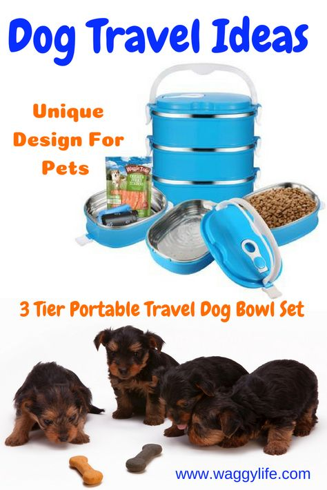 3 Tier Portable Travel Dog Bowl Set Stainless Steel Outdoor Traveling The 3 Tier Set Is Specially Designed For Pet