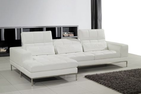Gleaming White Leather Chaise Sofa