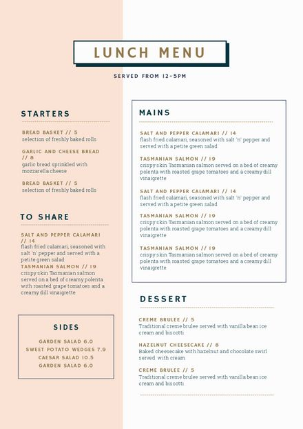 Editable Lunch Menu Template – DIY in Easil The post Customizable Restaurant Menu Templates appeared first on Food Monster.