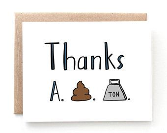 Funny Thank You Card Funny Card Punny Card Thanks A Ton