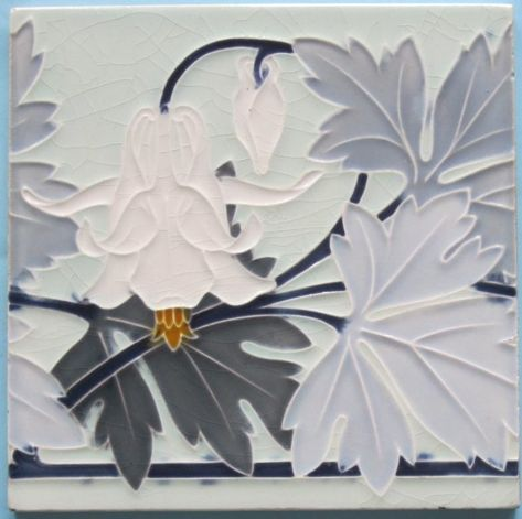 Art nouveau belgian tile - Hemixsem Fabulous six-color tile of a fuchsia and two-tone gray leaves on blue stems scrolling across a celadon field from the Belgian firm, Hemixsem.