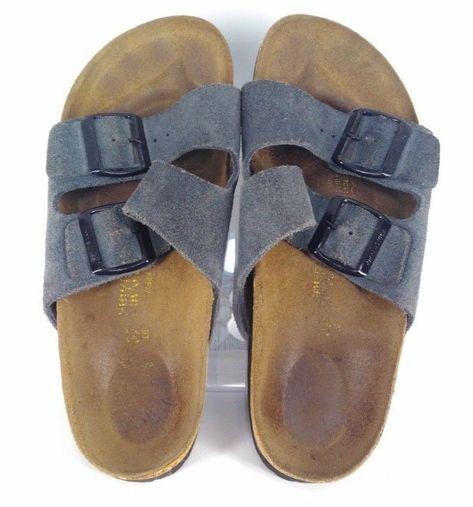 a43ef34e7b30 Birkenstock Arizona blue 2 strap suede slides sandals size 8  Birkenstock   Slides  Casual