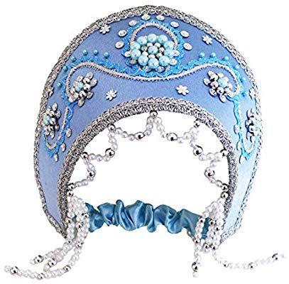 Russian Traditional Folk Costume Headdress KokoshnikAlina Blue #307