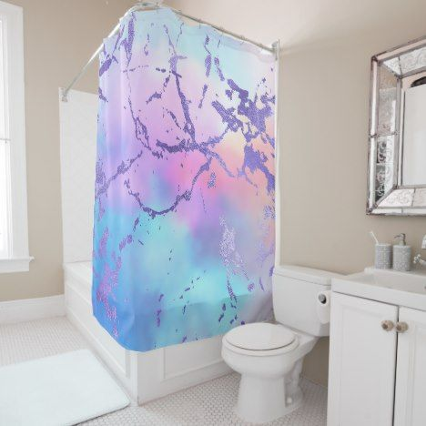 Cool Marble Decor Turquoise Blue Purple Ombre Shower Curtain