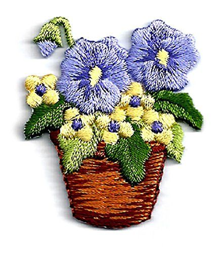 EMBROIDERED IRON ON APPLIQUE PATCH FLOWER POT W//SPRING FLOWERS C