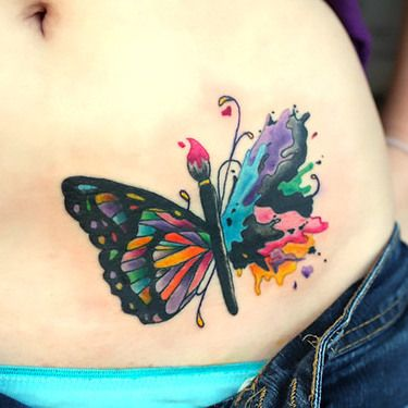 Cool Colorful Butterfly On Belly Tattoo Idea Tattoos Watercolor Butterfly Tattoo Unique Tattoos