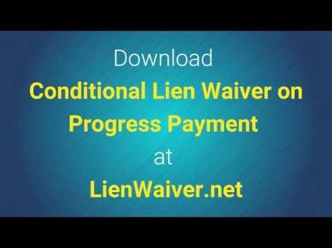 Conditional Lien Waiver on Progress Payment - Legal Waiver Form - legal liability waiver form