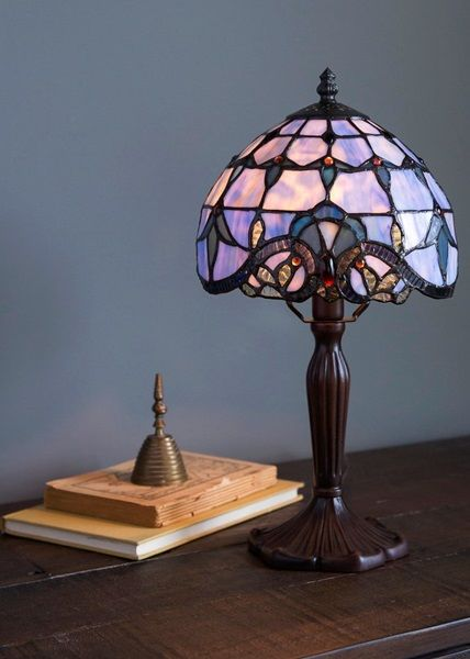14 H Tiffany Style Mini Allistar Stained Glass Table Lamps
