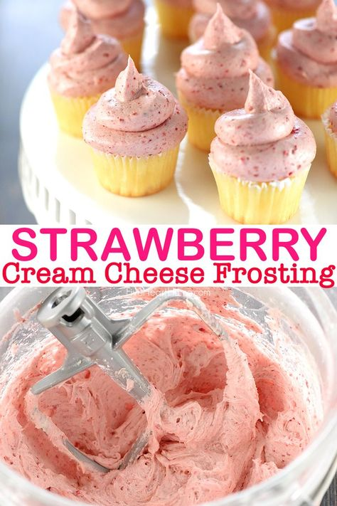 Thick, silky, and bursting with strawberry flavor thanks to a special secret ingredient! This Strawberry Cream Cheese frosting is perfect for your desserts. Save this kid-friendly recipe for later! Freeze Dried Strawberries, Strawberries And Cream, Köstliche Desserts, Delicious Desserts, Food Cakes, Cupcake Cakes, Cupcake Frosting, Strawberry Cream Cheese Frosting, Strawberry Cupcakes