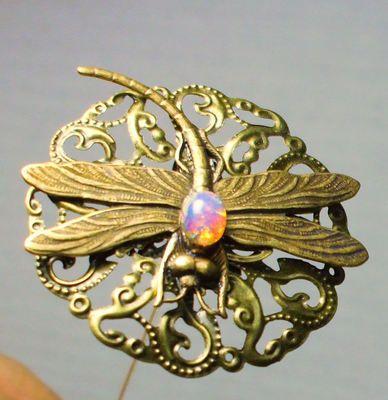Antique Victorian Art Nouveau Style Bronze Dragonfly Glass Fire Opal Hat Pin
