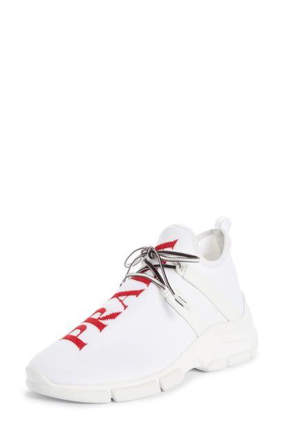 PRADA KNIT SOCK SNEAKER. #prada #shoes