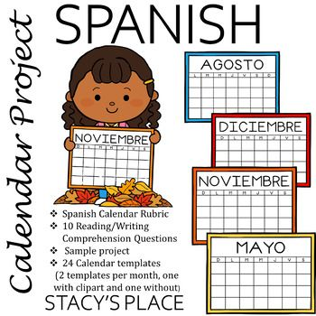 Spanish Calendar Project Writing Comprehension How To Speak
