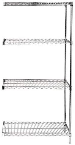 24 Quot Deep X 72 Quot Wide X 63 Quot High 4 Tier Chrome Add On Shelving Unit In 2020 Shelving Unit Wire Shelving Units Wire Shelving
