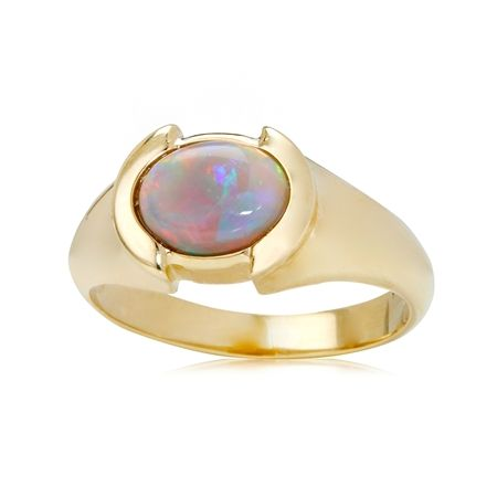 1.07ct Terra Opalis Black Australian Opal Bezel Set Ring 9ct