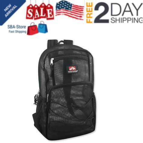 Large DELUXE Mesh School Travel Bag Clear Backpack Perfect for Kids Men Women