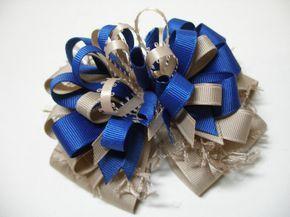Royal Azul y negro del grosgrain riobbon Escuela Cabello Arcos accesorios para el cabello de la escuela