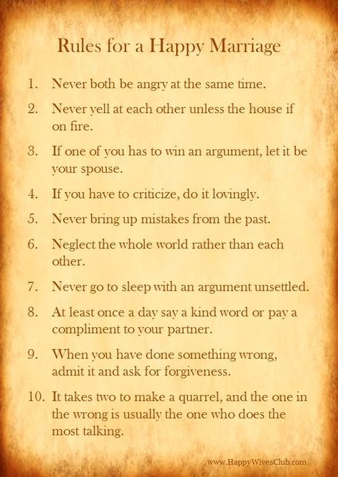 rules for happy marriage.  Would be cool to make as a sign and frame for the bedroom.