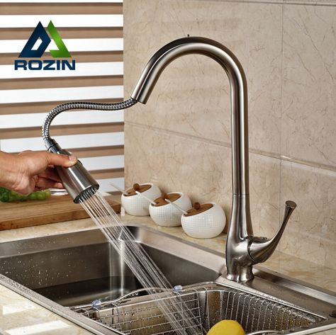 Brushed Nickel Pull Out Dual Sprayer Nozzle Kitchen Sink Faucet