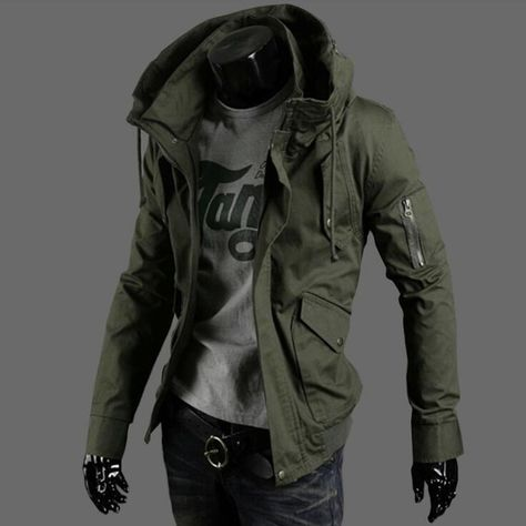 2017 spring and summer military jacket male slim popular men's clothing casual outerwear Army Green thin top trend