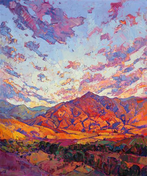 "Boise Idaho dramatic colorful painting of the northwest, by contemporary impressionist Erin Hanson-""Dawn Rising"" Art Inspo, Painting Inspiration, Landscape Art, Landscape Paintings, Oil Paintings, Contemporary Landscape, Indian Paintings, Abstract Paintings, Action Painting"