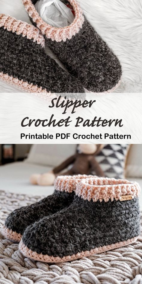 Looking for a cozy gift idea? Try any of these Crochet Slipper Patterns for a great gift. You can use lots of different color combos to fit anyone. Knitting TechniquesCrochet For BeginnersCrochet Hair StylesCrochet Bag Easy Crochet Slippers, Crochet Boots, Felted Slippers, Chunky Crochet, Crochet Clothes, Crochet Basics, Crochet For Beginners, All Free Crochet, Crochet Baby