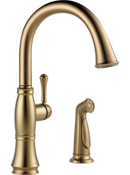 Delta Cassidy Gooseneck Champagne Bronze Kitchen Faucet W Side