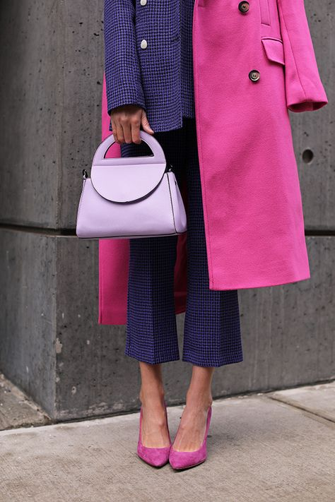 Blair Eadie wearing a suit and coat from Topshop // Click through to find more fashion on a budget in her newest product roundup on Atlantic-Pacific // Pink and purple