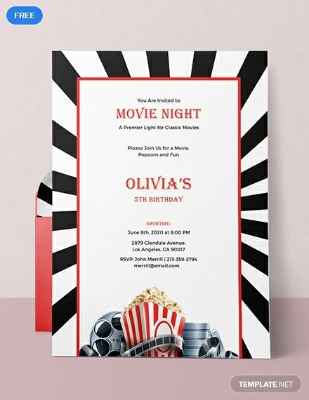 graphic relating to Movie Night Invitations Free Printable called Cost-free Video clip Night time Invitation Printable Bash Invitation