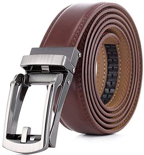 Fashion Genuine Leather Dress Belts Ratchet with Linxx Buckle Mens Gift for Dad