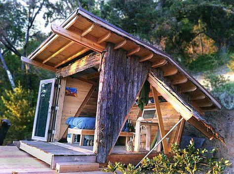 Rustikale Holzhutte Gartenhaus Offnet Sich Landschaft Holz Back