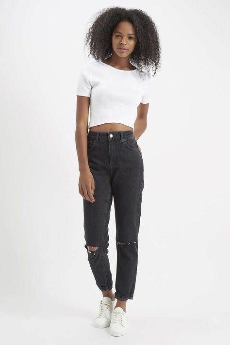 MOTO Washed Black Ripped Mom Jeans