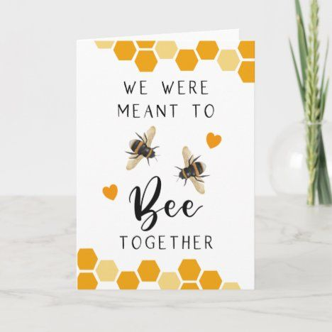 Birthday Card Puns, Happy Birthday Cards, Birthday Quotes, Funny Anniversary Cards, Homemade Anniversary Cards, Happy Anniversary, One Month Anniversary, Bee Puns, Pun Card
