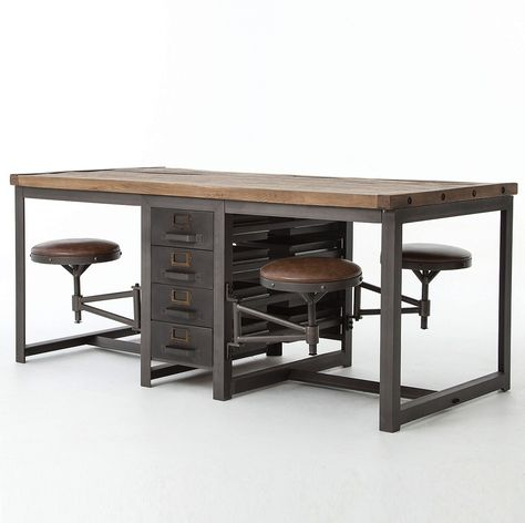 Four Hands Home Office Rupert Work Table-Rustic Blk/Bp