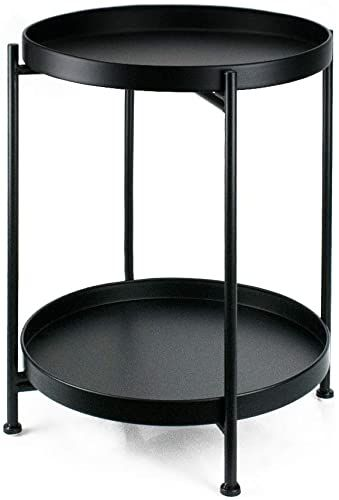 Buy Metal End Table 2 Tier Small Side Table Round Coffee Table Sofa Living Room Tea Table Black Online In 2020 Metal End Tables Living Room Furniture Small Side Table