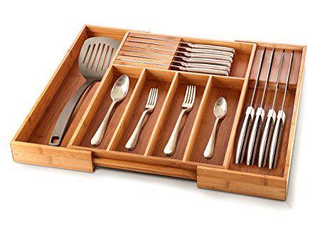 Expandable Flatware Drawer Organizer Bamboo Utensil Holder Wooden Cutlery Tray Kitchen Drawer Dividers Kitchen Drawer Organization Utensil Drawer Organization
