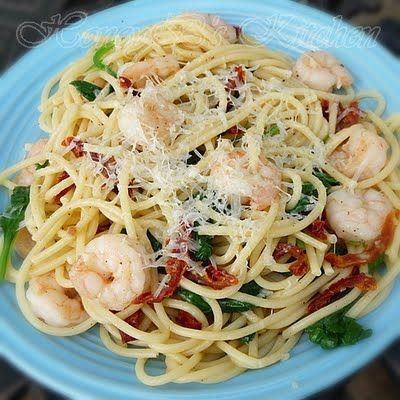 Garlic Shrimp with Spinach Vermicelli - weight watchers recipe at grumphy's honeybunch