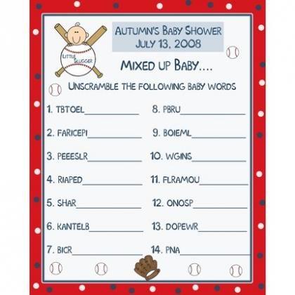 24 Baby Shower Word Scramble Game Cards  LITTLE SLUGGER