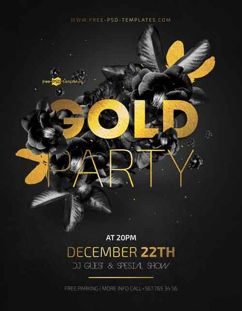 Gold Night Party Free Flyer Template - Freebie | FreePSDFlyer