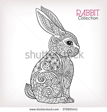 Decorative Rabbit Easter Bunny Hare Vector Illustration This