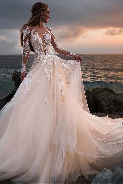 Champagne tulle wedding dress with illusion lace long sleeves # bridal dress . - Champagne tulle wedding dress with illusion lace long sleeves dress – – - Western Wedding Dresses, Long Wedding Dresses, Long Sleeve Wedding, Tulle Wedding, Bridal Dresses, Maxi Dresses, Dress Wedding, Illusion Wedding Dresses, Colorful Wedding Dresses