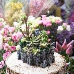 Mini Resin Succulent Cactus Flower Pots Bonsai Planter Fake Swing Stump Pot