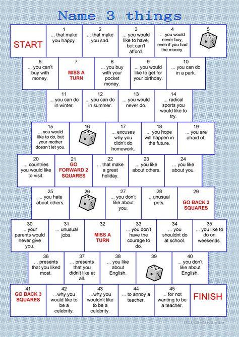 Board game - name 3 things worksheet - Free ESL printable worksheets made by teachers