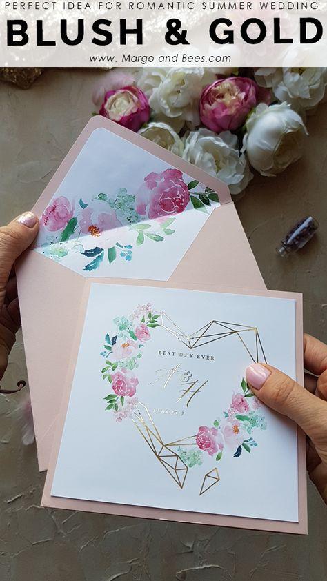 Perfect invitations for summer, romantic weddng #weddinginvitationsidea #blushwedding #goldweddinginvitations #summerweddingidea