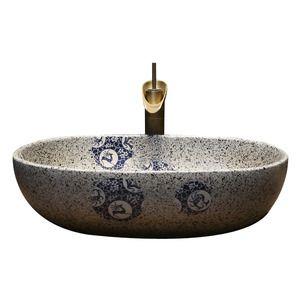 Vintage Uponmount Oval Ceramic Vessel Sinks With Enamelling For Bathroom Ceramic Vessel Ceramic Light Sink
