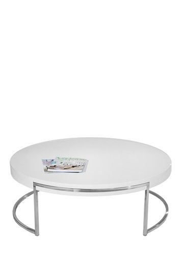 Admirable Pange Home Mino Round Coffee Table White Watlnut 15 H X Onthecornerstone Fun Painted Chair Ideas Images Onthecornerstoneorg