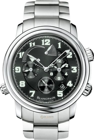 Blancpain Leman GMT Alarm Date 2041-1130M-71.This Blancpain Leman Reveil GMT Alarm watch in stainless steel features a 40mm case, black military dial, and a steel bracelet. The Blancpain Leman Reveil GMT Alarm watch utilizes an automatic movement with a date feature, GMT and second time zone displays, an alarm, on/off selector for the alarm function and an alarm power reserve indicator. This timepiece is water resistant to 100 meters.