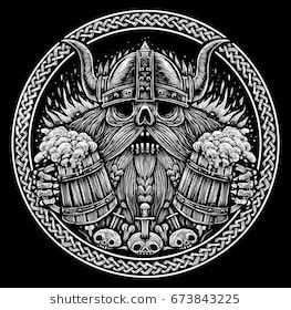 Emblem Beer Label Skull Of A Viking With Beer Mugs Black And White Illustration In Engraved Style Beer Label Vikings Black White Illustration