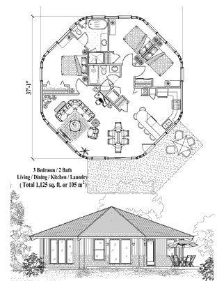 Patio House Plan Pt 0421 1125 Sq Ft 3 Bedrooms 2 Bathrooms Round House Plans Octagon House House Plans